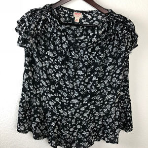 Mossimo Womens Strapless Blouse, Black Floral XS
